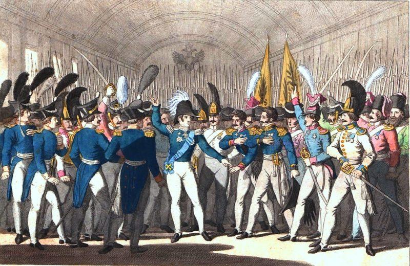 Император Николай I сообщает гвардии о восстании в Польше. Фридрих Кампе, 1846, из собрания Национальной библиотеки Польши.