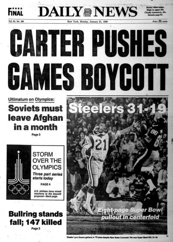 «Картер призывает к бойкоту игр». Обложка газеты Daily News, Нью-Йорк, США. 21 января 1980 г.